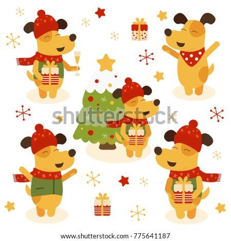 Vector set of illustrations of dog symbol of new year 2018. Year of dog 2018 logo, icon, dog 2018 design. Vector symbol of new year 2018 in Chinese calendar, Chinese New Year