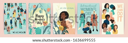 Vector set of illustrations with abstract women with different skin colors. International Women's Day. Struggle for freedom, independence, equality. Lifestyle, street fashion.