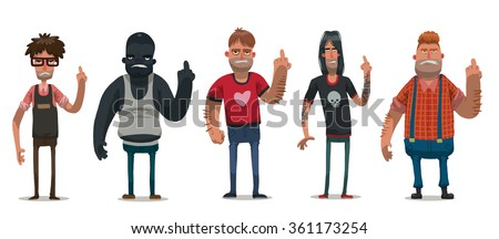 vector set of images of angry