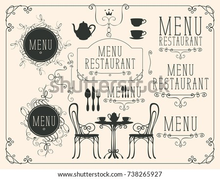 Vector set of images on the theme of menu for restaurant or cafe on a beige background in the art Deco style Stok fotoğraf ©