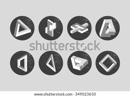 Vector set of impossible objects. Geometric shapes, labels, emblems, design elements. Penrose triangle and optical illusions.