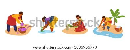 vector set of indian women