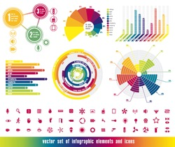 vector set of infographic elements and icons in colors of rainbow