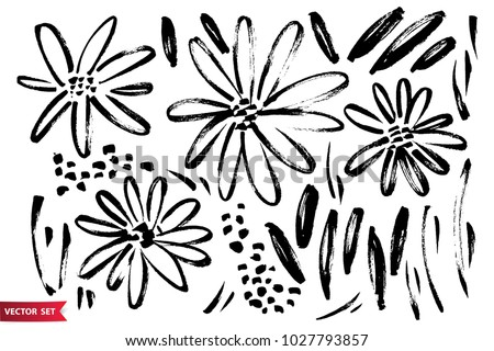 Vector set of ink drawing wild plants, herbs and flowers, monochrome artistic botanical illustration, isolated floral elements, hand drawn illustration. #1027793857