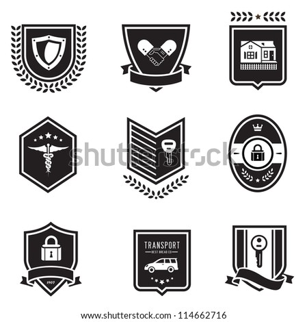 Vector set of insurance badges - stock vector