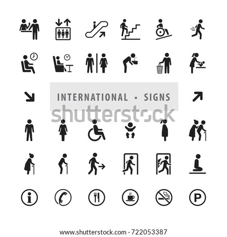 Vector set of international direction signs, people symbols, International communication icon set.
