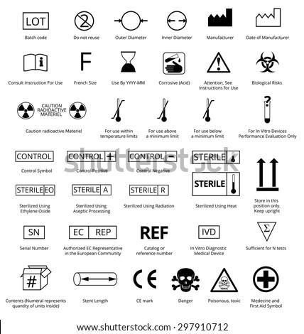 Vector Set of International Medical Package Symbols with Title. Illustration EPS8