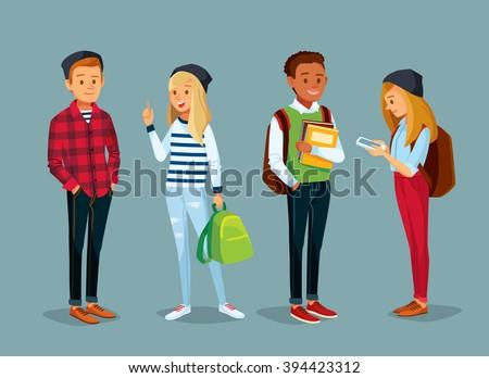 vector set of international students