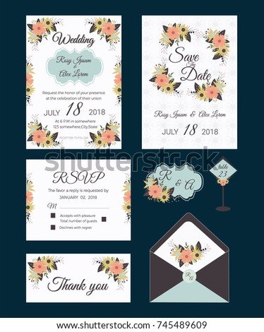 Vector set of invitation cards with  flowers elements Wedding collection #745489609