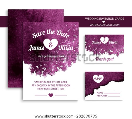 Watercolour save the date invitation design download free vector vector set of invitation cards with watercolor elements in bright violet color watercolor wedding collection stopboris Gallery
