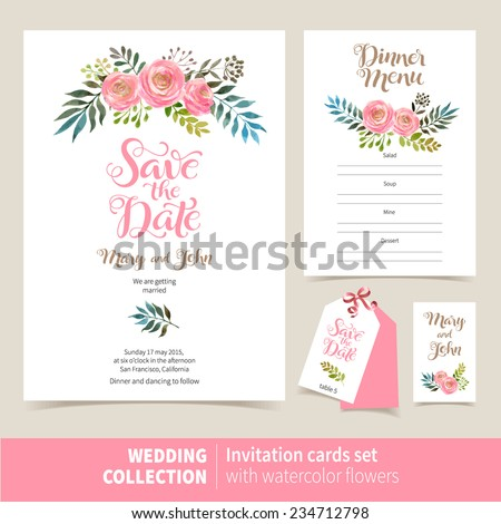Vector set of invitation cards with watercolor flowers elements and calligraphic letters. Wedding  collection