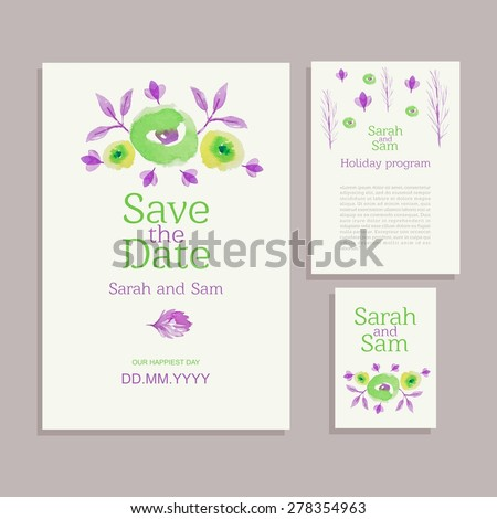 Vector set of invitation cards with watercolor flowers elements. Wedding collection