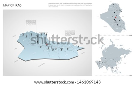 Vector set of Iraq country.  Isometric 3d map, Iraq map, Asia map - with region, state names and city names.
