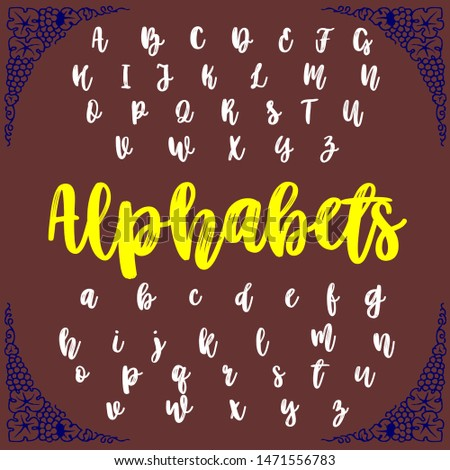 Vector set of isolated alphabet letters typeface ABC fonts named alphabets