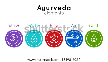vector set of isolated ayurveda