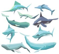 vector set of isolated geometric polygon sea animals