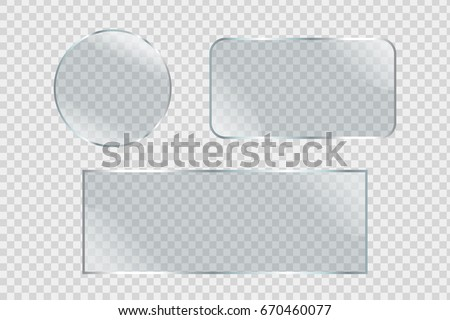 Vector set of isolated realistic glass billboards on the transparent background for decoration and covering.