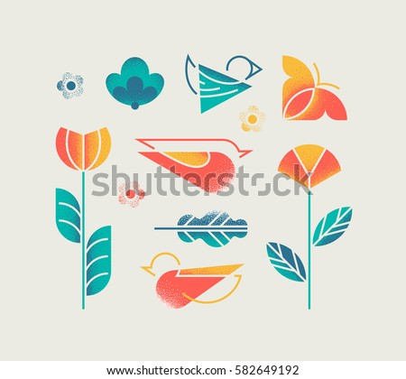 Vector set of isolated spring and summer nature with abstract grain textured flowers, birds and butterfly. Design elements.