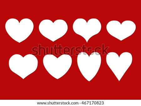 Shutterstock Vector set of isolated white hearts of different shape on a red background. Eps 10.