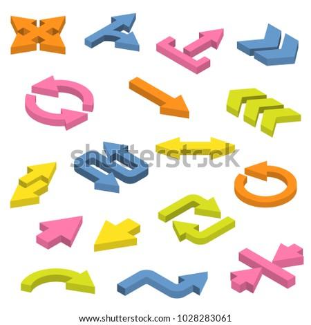 Vector set of isometric arrows.