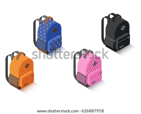 Vector set of isometric backpack different color