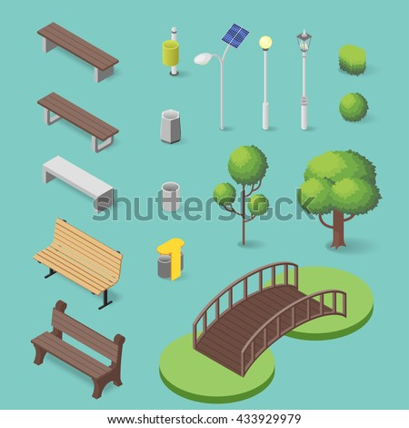 vector set of isometric park