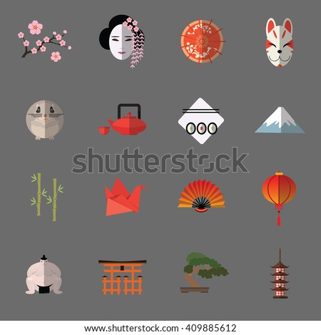 vector set of japanese flat