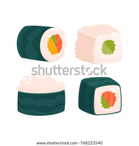 Vector set of japanese seafood sushi rolls isolated on white. Traditional fresh raw food. Sushi roll with salmon, cucumber, avocado used for magazine, kitchen textile, menu cover, web pages.