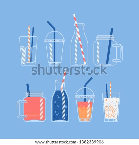 Vector set of jars, bottles and glasses for cocktail, juice or smoothie. Empty and full. Take away beverages made of fruit juices and soft drinks. Ideal for smoothie and pressed juice bar menu design