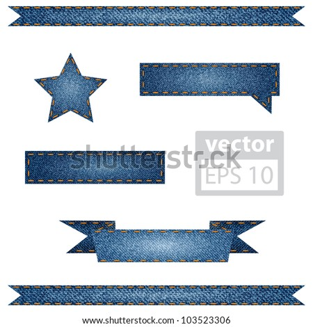 Vector set of jeans ribbons for your website