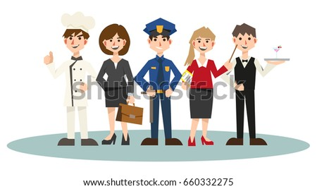 vector set of Job:chef,businessman,police,teacher,bartender,waiter.