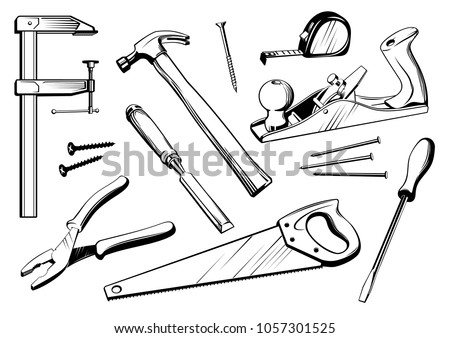 Vector set of joiner's tools. Black and white elements for woodworking carpentry illustration.