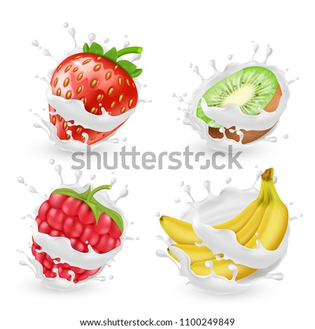 Vector set of juicy summer fruits and berries in milk or cream splashes, isolated on background. Natural organic food, banana, kiwi, strawberry and raspberry with yogurt. Clipart for package design