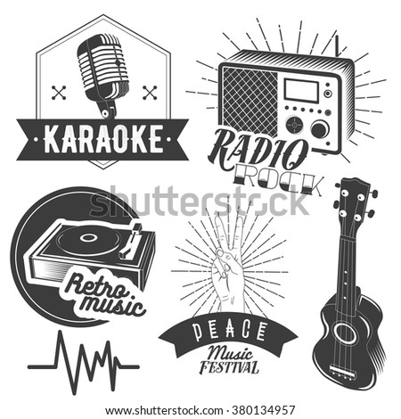 Vector set of karaoke and music labels in vintage style. Guitar, microphone, gramophone, radio receiver isolated on white background. Design elements, emblems, badges, logo and icons.