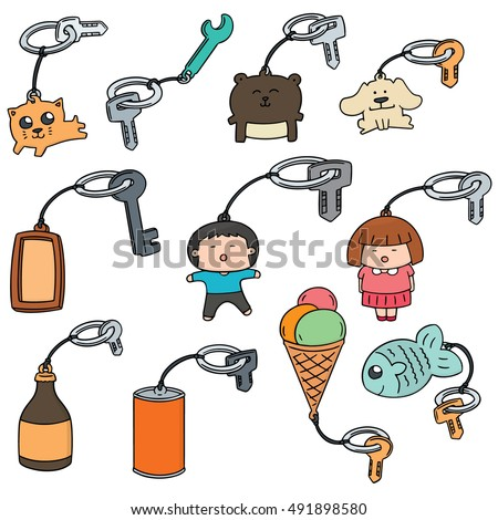 vector set of key chain