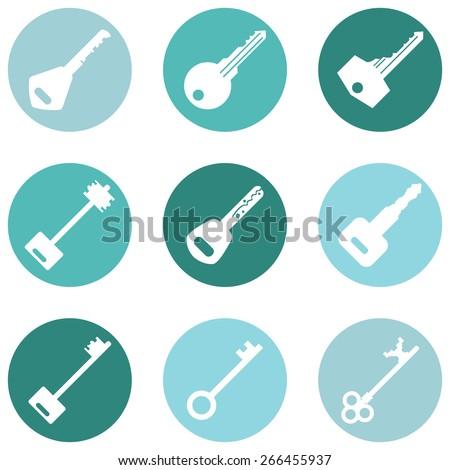 vector set of keys icons