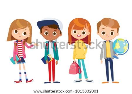 Vector set of kids