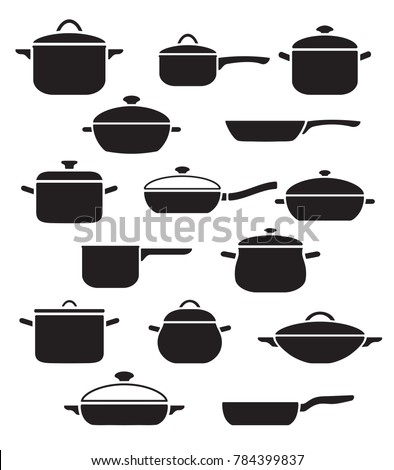 Vector set of kitchen utensils. Collection black and white pots and pans with lids. Foto stock ©