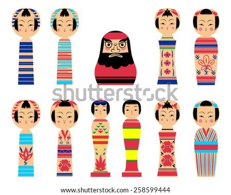 vector set of kokeshi dolls