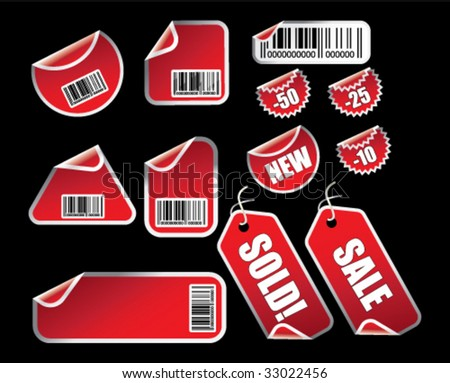 Vector set of labels and tags with bar codes on black - stock vector