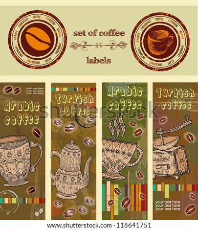 vector set of labels, coffee. Turkish coffee, Arabic coffee.