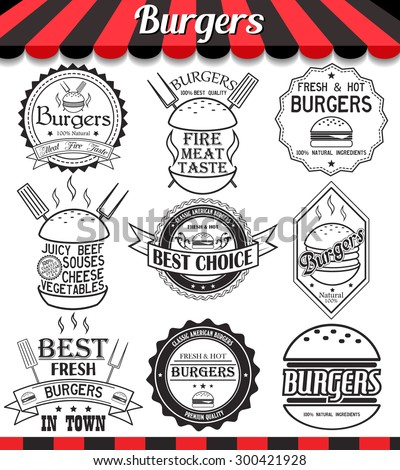 """Vector set of labels, stickers,logos and logotypes elements for burger and hamburger.See more in set """"Labels"""" of my portfolio"""