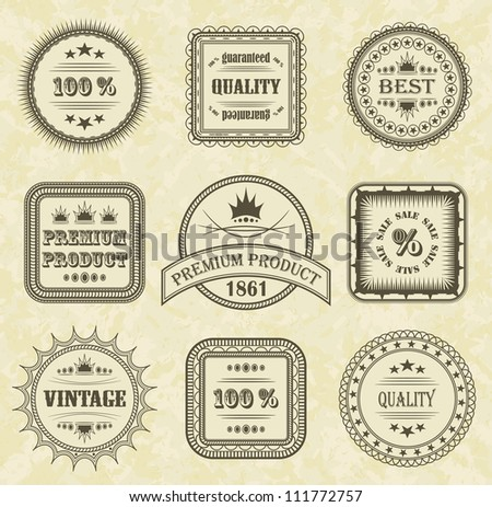 Vector set of labels with grunge background