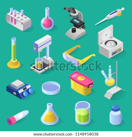 Vector set of laboratory equipment isometric colorful design. Collection of 16 isolated laboratory equipment icons: microscope, bottle, tester, scales, glasses, vials, injector, container, box, flask