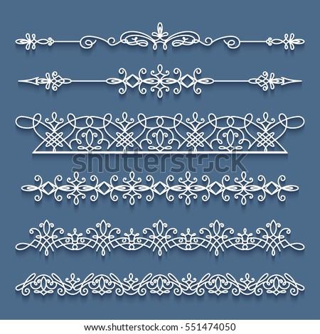 Vector set of lace border vignettes, suitable for laser cutting. Vintage flourish ornaments, cutout paper decoration, eps10