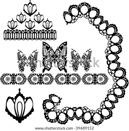 vector set of lace elements