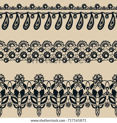 Vector set of lace seamless borders. Collection of decorative patterns: flowers and leaves. Ornamental floral motifs. Lacy vintage ornaments #717165871