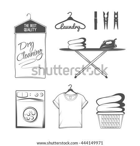 Vector Set Of Laundry Logos Emblems And Design Elements Washing Machine