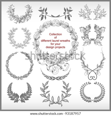 vector set of laurel wreaths isolated