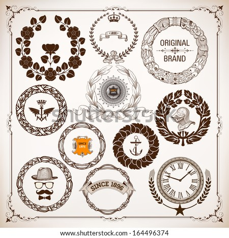 vector set of laurel wreaths isolated and design elements